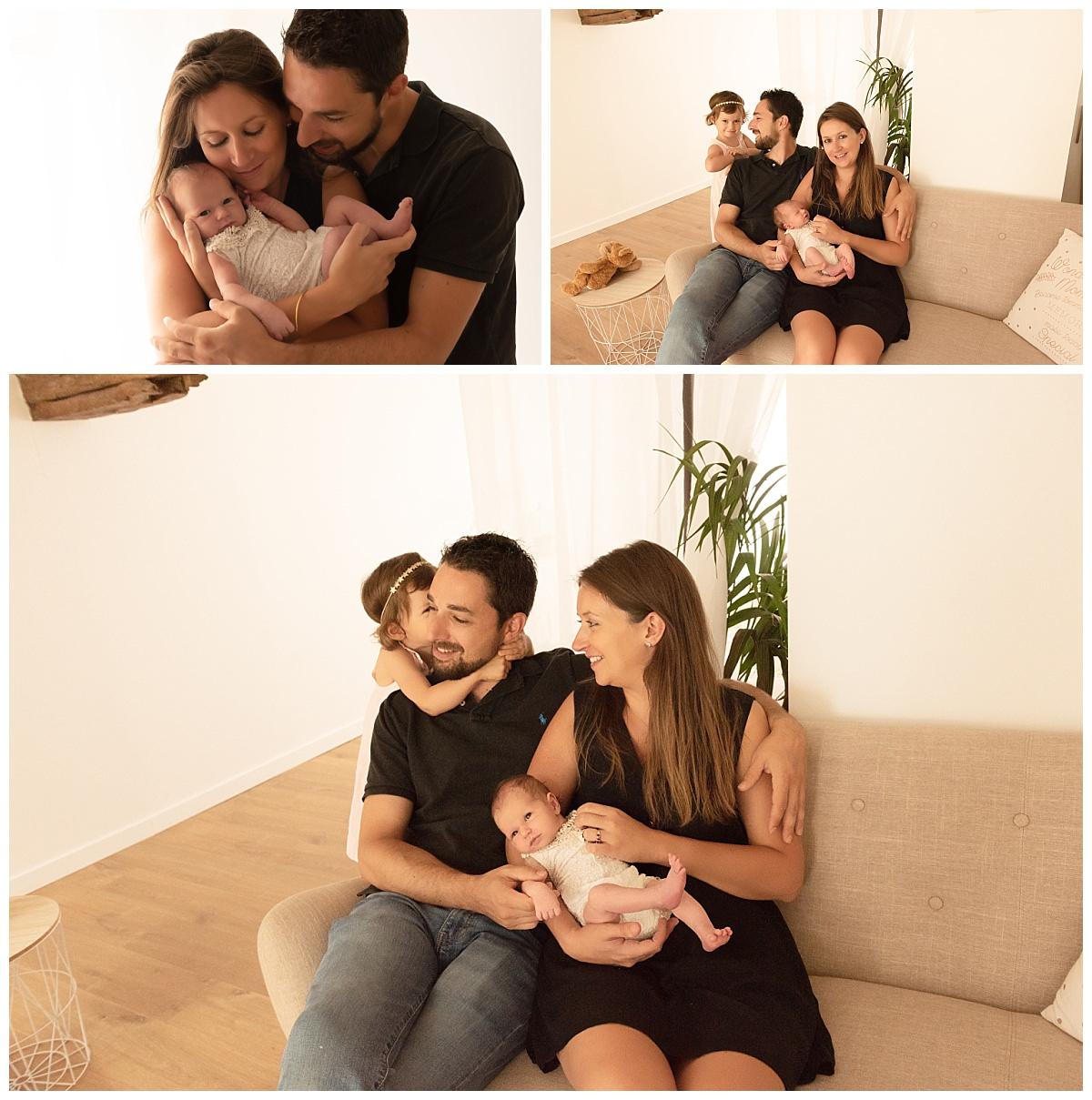 photo nouveau-né avec famille