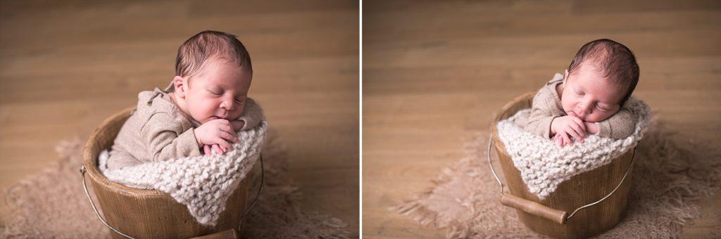 photo nouveau-né dans petit seau